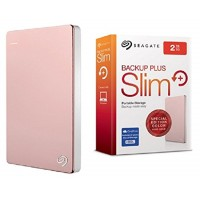 Seagate Backup Plus Slim 2TB USB 3.0 Portable External Hard Drive with Mobile Device Backup (Rose Gold)