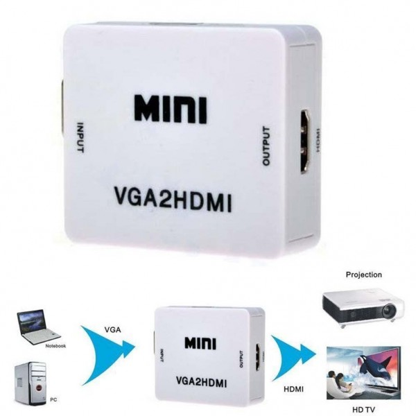 VGA To HDMI, Mini HD 1080P 3.5mm Audio VGA To HDMI HD HDTV Video Converter Box Adapter VGA2HDMI for PC Laptop Dispaly Projector Cables & Convertors