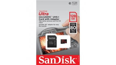 SanDisk Ultra 128GB UHS-I Class 10 MicroSDXC Memory Card Up to 80mb s SDSQUNC-128G with Adapter