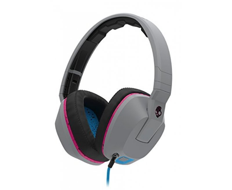 Skullcandy S6SCGY-381 Crusher Over-Ear Headphones with Built-In Amplifier and Mic (Gray/Cyan/Black)