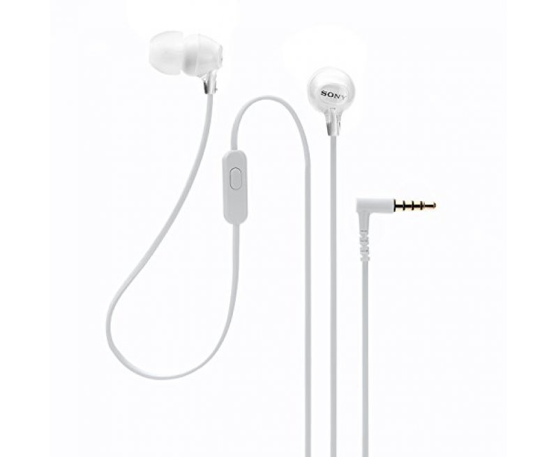 Sony MDR-EX15AP In-Ear Stereo Headphones with Mic (White)