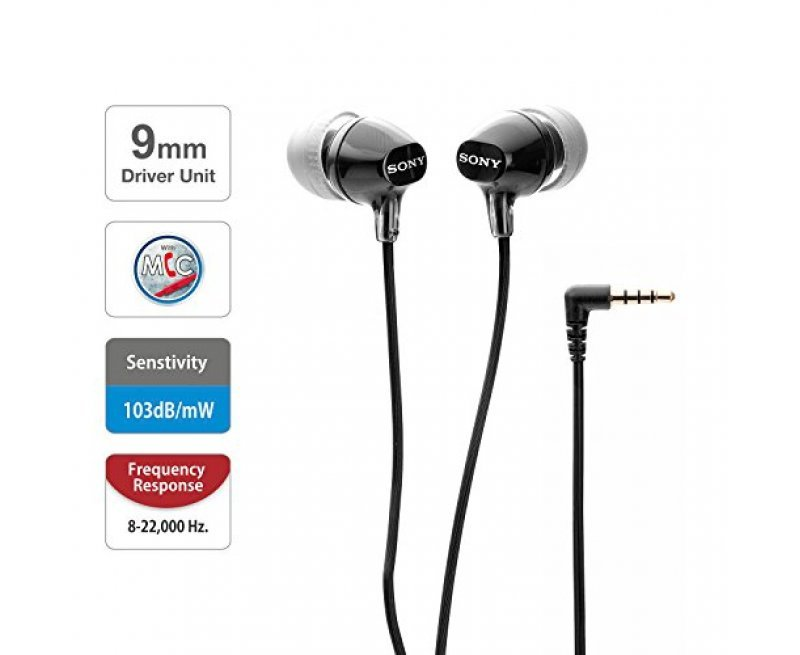 Sony MDR-EX15AP Wired In-Ear Headphones with tangle free cable, 3.5mm Jack, Headset with Mic for phone calls and 1 Year Warranty - (Voilet)