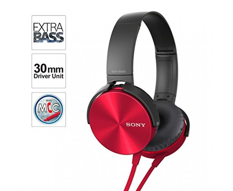 Sony MDR-XB450AP Wired Extra Bass On-Ear Headphones with Tangle Free Cable, 3.5mm Jack, Headset with Mic for Phone Calls and 1 Year Warranty - (Red)