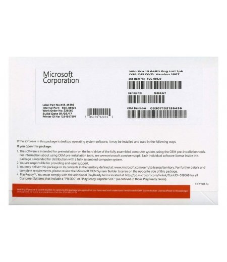 Microsoft Windows 10 Professional 64Bit OEM (OEI) DVD PACK English Intl for 1 PC/ User