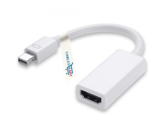 Mini Display port To HDMI Adapter Cable For Apple Macbook, Macbook Pro, Macbook Air, Mac Mini Laptop - White (37.1 Centimeters)