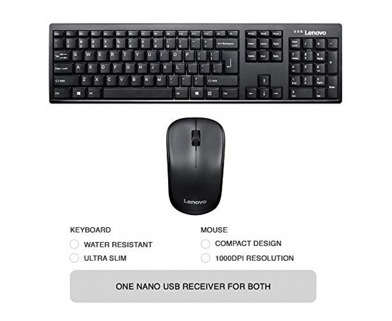 Lenovo 100 Wireless Keyboard & Mouse Combo