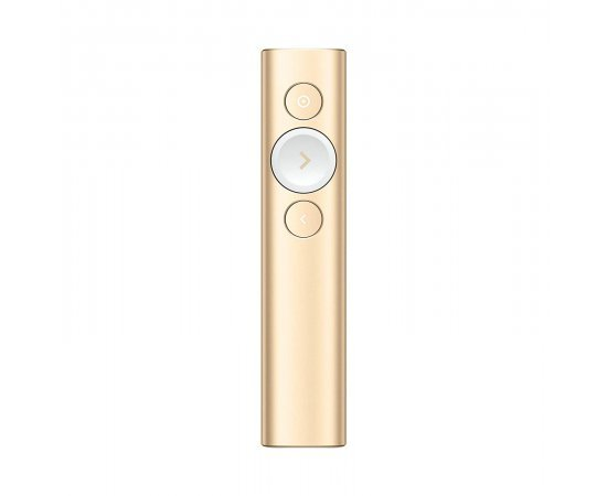 Logitech Spotlight Wireless Presentation Remote, 2.4 GHz and Bluetooth, USB-Receiver, Digital Laser Pointer, 30-Meter Operating Range, Dual Connectivity, Timer, PC/Mac/Android/iOS - Gold