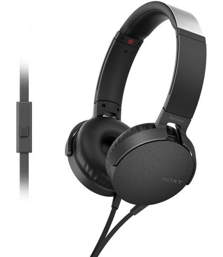 Sony MDR-XB550AP Wired Extra Bass On-Ear Headphones with Tangle Free Cable, 3.5mm Jack, Headset with Mic for Phone Calls and 1 Year Warranty - (Black)