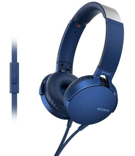 Sony MDR-XB550AP Wired Extra Bass On-Ear Headphones with Tangle Free Cable, 3.5mm Jack, Headset with Mic for Phone Calls and 1 Year Warranty - (Blue)