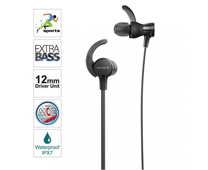 Sony MDR-XB510AS Wired Sports in-Ear Splashproof Headphones with Tangle Free Cable, 3.5mm Jack, Headset with Mic for Phone Calls and 1 Year Warranty - (Black)