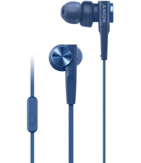 Sony MDR-XB55AP Wired Extra Bass in-Ear Headphones with Tangle Free Cable, 3.5mm Jack, Headset with Mic for Phone Calls and 1 Year Warranty - (Blue)