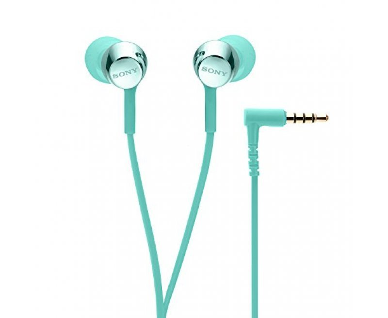 Sony MDR-EX155AP Wired in-Ear Headphones with Tangle Free Cable, 3.5mm Jack, Headset with Mic for Phone Calls and 1 Year Warranty - (Mint Blue)
