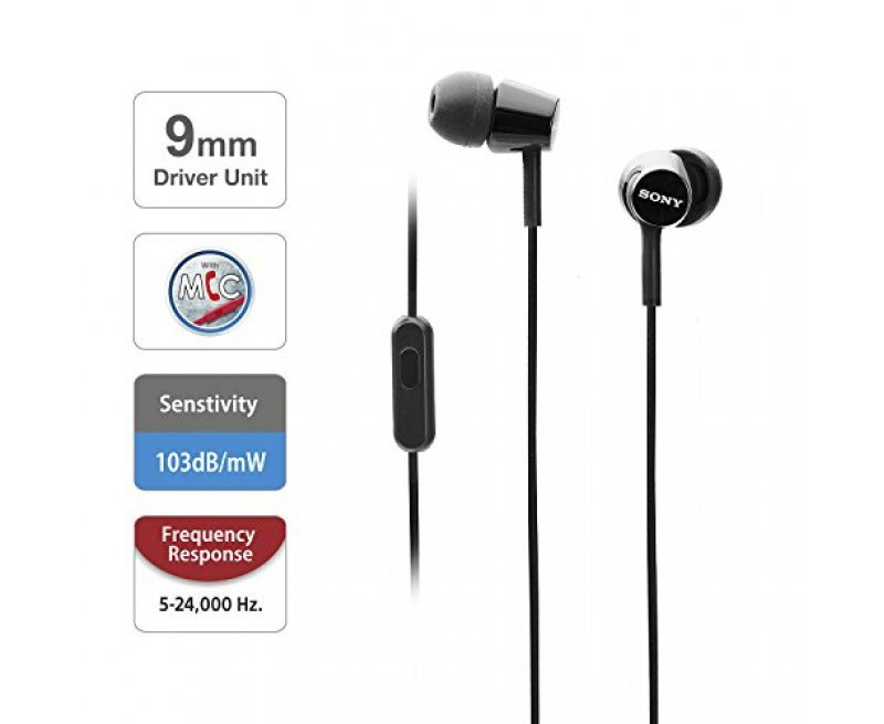 Sony MDR-EX155AP Wired in-Ear Headphones with Tangle Free Cable, 3.5mm Jack, Headset with Mic for Phone Calls and 1 Year Warranty - (Black)