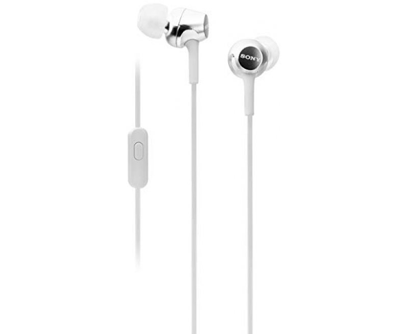 Sony MDR-EX155AP Wired in-Ear Headphones with Tangle Free Cable, 3.5mm Jack, Headset with Mic for Phone Calls and 1 Year Warranty - (White)