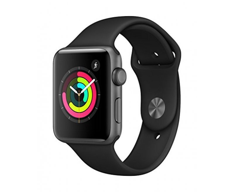 Apple Watch Series 3 GPS 42mm Smart Watch (Space Grey Aluminum Case, Black Sport Band)