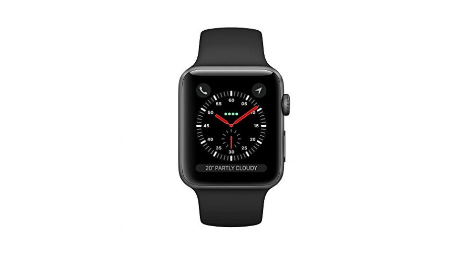 Apple Watch Series 3 (GPS + Cellular), 42mm Space Gray Aluminum Case with Black Sport Band iWatch