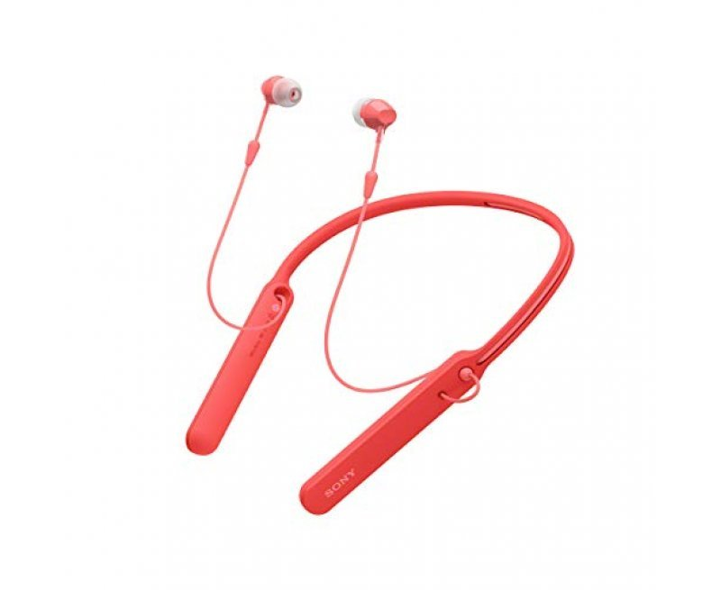 Sony WI-C400 Wireless Bluetooth in-Ear Neck Band Headphones with 20 Hours Battery Life, Light Weight, Headset with mic for Phone Calls, Vibration Notification, Tangle Free Cable – (Red)
