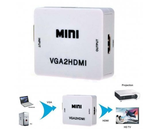 VGA To HDMI, Mini HD 1080P 3.5mm Audio VGA To HDMI HD HDTV Video Converter Box Adapter VGA2HDMI for PC Laptop Dispaly Projector