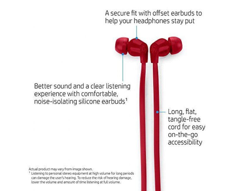 HP In-Ear Headphone  with Noise Isolation Earbuds (Red)