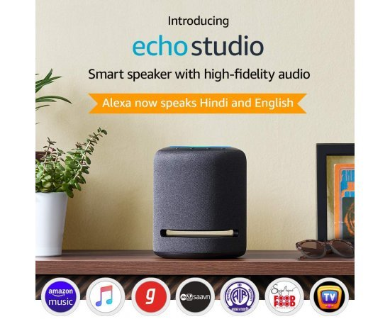 Introducing Echo Studio - Smart speaker with high-fidelity audio and Alexa (Black)