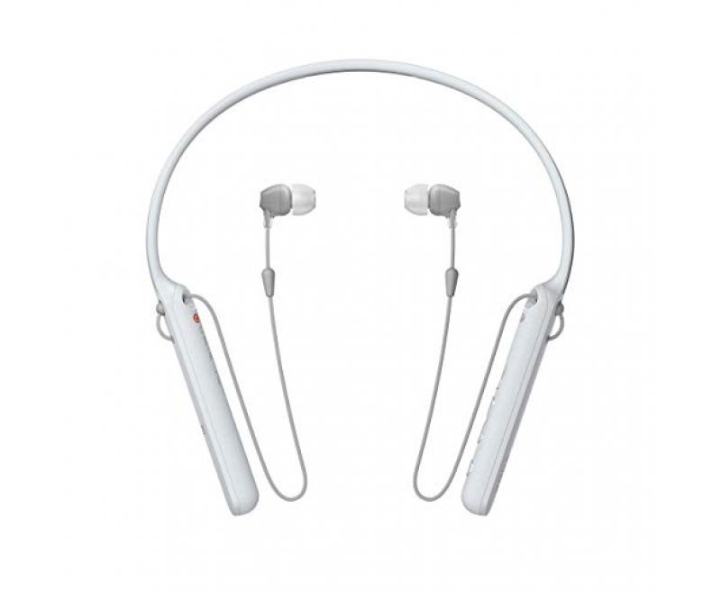 Sony WI-C400 Wireless Bluetooth in-Ear Neck Band Headphones with 20 Hours Battery Life, Light Weight, Headset with mic for Phone Calls, Vibration Notification, Tangle Free Cable (White)