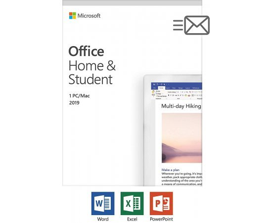 Microsoft Office Home and Student 2019 Activation Card by Mail | 1 person, Compatible on Windows 10 and Apple macOS