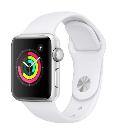 AppleWatch Series3 GPS, 38mm Silver Aluminium Case with White Sport Band