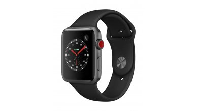 AppleWatch Series3 (GPS+Cellular, 42mm) - Space Grey Aluminium Case with Black Sport Band