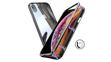 Magnetic Metal Frame Tempered Glass Hard Back Cover with Built-in Magnets Bumper for iPhone XR (Black)