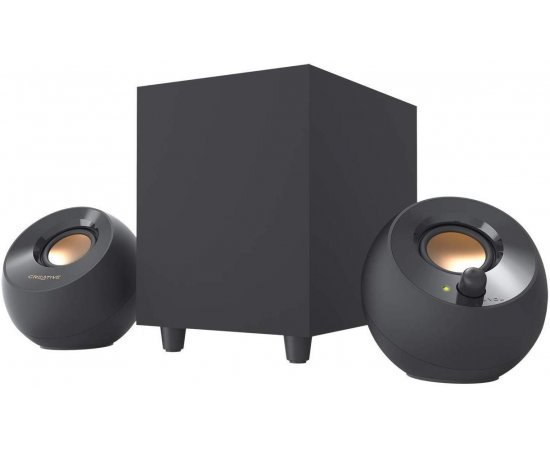 Creative Pebble Plus 2.1 USB-Powered Desktop Speakers with Down-Firing Subwoofer and Far-Field Drivers, Up to 8W RMS Total Power for PCs and Laptops (Black)