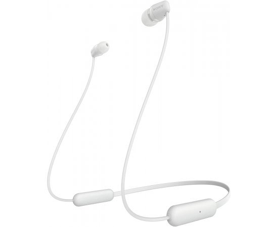 Sony WI-C200 Wireless In-Ear Headphones with 15 Hours Battery Life, Quick Charge, Magnetic Earbuds for Tangle Free Carrying,Metallic Finish, Bluetooth ver 5.0, Headset with mic for phone calls (White)