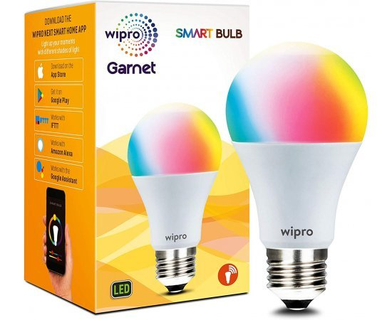 Wipro WiFi Enabled Smart LED Bulb E27 9-Watt (16 Million Colors + Shades of White) (Compatible with Amazon Alexa and Google Assistant)