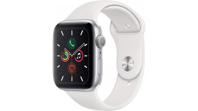 Apple Watch Series 5 (GPS, 44mm) - Silver Aluminum Case with White Sport Band