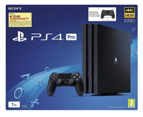 Sony PS4 Pro 1TB Console with one Additional Controller Pasted Outside Box