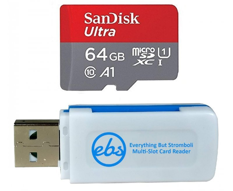 SanDisk 64GB Micro SDXC Ultra Memory Card Class 10 (SDSQUAR-064G-GN6MN) Works with Samsung Galaxy A10e, A10s, A30s, A50s, A90 5G Phone Plus (1) Everything But Stromboli (TM) MicroSD & SD Card Reader