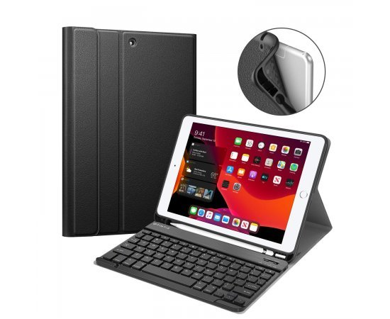"Keyboard Case iPad 7th Gen 10.2 Inch 2019, Soft TPU Back Protective Stand Cover with Built-in Pencil Holder, Magnetically Detachable Wireless Bluetooth Keyboard for iPad 10.2"", Black"