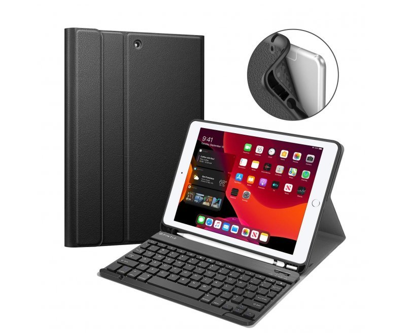 """Keyboard Case iPad 7th Gen 10.2 Inch 2019, Soft TPU Back Protective Stand Cover with Built-in Pencil Holder, Magnetically Detachable Wireless Bluetooth Keyboard for iPad 10.2"""", Black"""