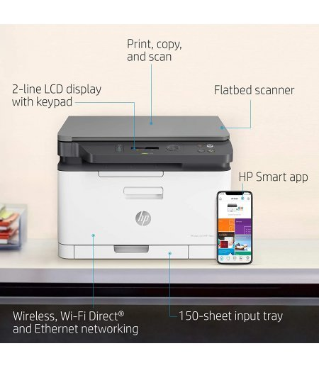 HP 178nw Wireless Laser Color Multifunction Mobile Ethernet Wi-Fi Printer 4ZB96A