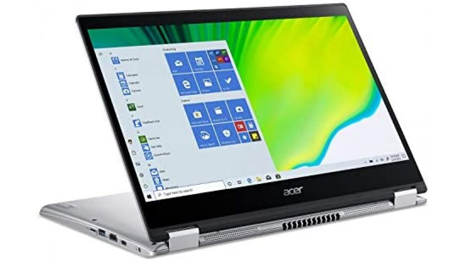 """Acer Spin 3 SP314-54N Convertible Laptop (10th Gen Core i5-1035G4, 8GB RAM, 512GB SSD, 14"""" Full HD IPS Touch + Active Stylus, Intel UHD Graphics, Windows 10, WiFi 6, Backlit KB, FPR) Pure Silver 2-In-1 Laptops"""
