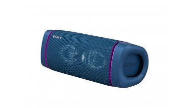 Sony SRS-XB33 Wireless Extra Bass Bluetooth Speaker with 24 Hours Battery Life, Party Lights, Party Connect, Waterproof, Dustproof, Rustproof, Speaker with Mic, Loud Audio for Phone Calls (Blue)
