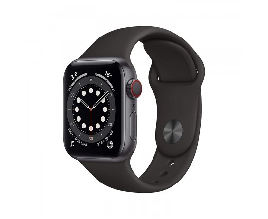 New Apple Watch Series 6 (GPS + Cellular, 44mm) - Space Grey Aluminium Case with Black Sport Band