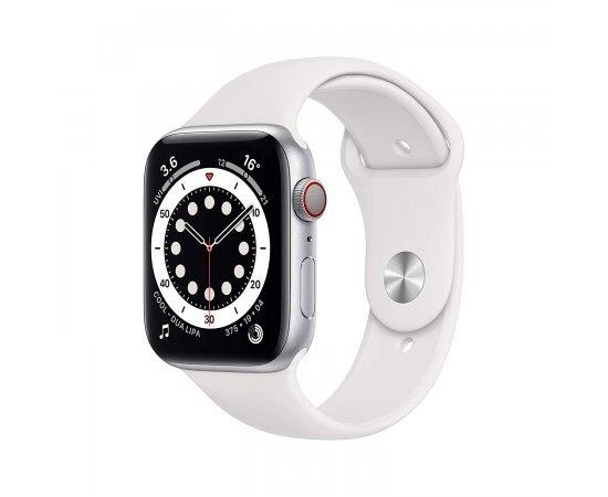 Apple Watch Series 6 GPS + Cellular, 44mm Silver Aluminium Case with White Sport Band - Regular