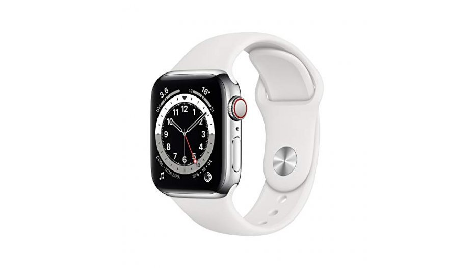 Apple Watch Series 6 GPS + Cellular, 44mm Silver Aluminium Case with White Sport Band - Regular iWatch 6