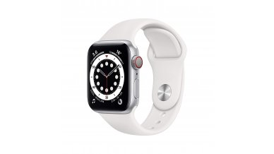 Apple Watch Series 6 GPS + Cellular, 40mm Silver Aluminium Case with White Sport Band - Regular