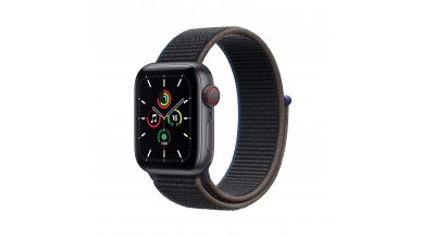 Apple Watch SE GPS + Cellular, 44mm Space Gray Aluminium Case with Charcoal Sport Loop