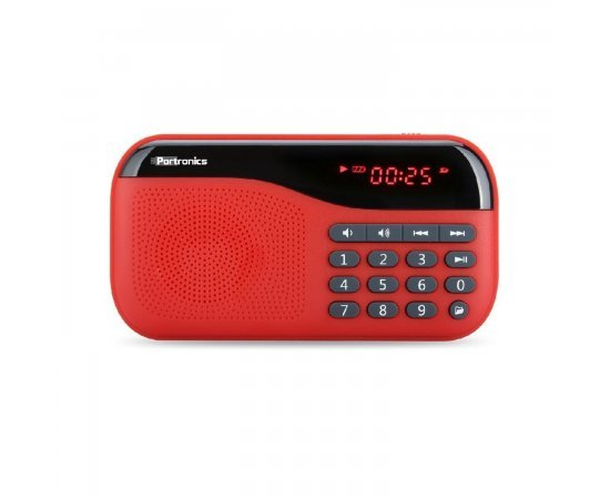 Portronics Speaker With FM radio & MicroSD card Support POR143 Red