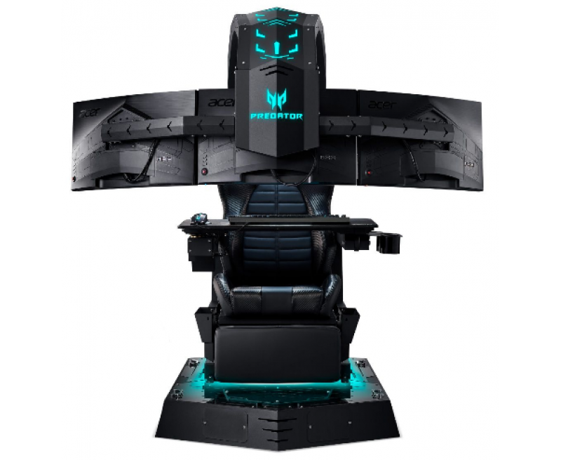 Acer Predator Thronos (Gaming Chair Full Set with 3x Curved Monitors, 1Desktop, 1Keyboard, 1Mouse,1 Mouse pad, 1 Headset)