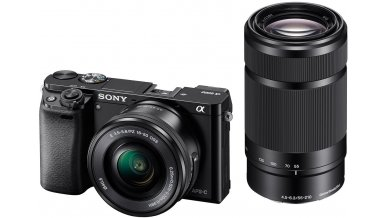 Sony Alpha ILCE 6000Y 24.3 MP Mirrorless Digital SLR Camera with 16-50 mm and 55-210 mm Zoom Lenses (APS-C Sensor, Fast Auto Focus, Eye AF) - Black