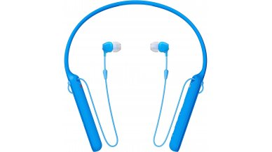 Sony WI-C400 Wireless Bluetooth in-Ear Neck Band Headphones with 20 Hours Battery Life, Light Weight, Headset with mic for Phone Calls, Vibration Notification, Tangle Free Cable – (Blue)