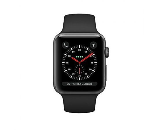 Apple Watch Series 3 (GPS + Cellular), 42mm Space Gray Aluminum Case with Black Sport Band